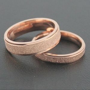 Rose gold stainless steel ring.